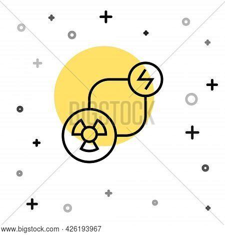 Black Line Radioactive Exchange Energy Icon Isolated On White Background. Radioactive Toxic Symbol.