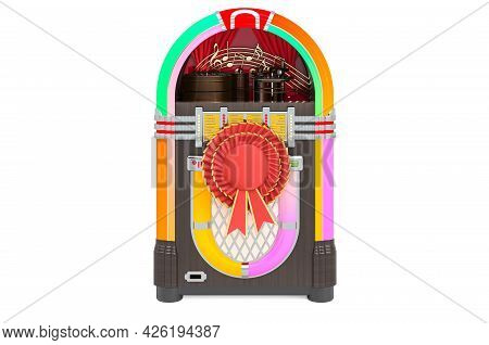 Jukebox With Best Choice Badge, 3d Rendering Isolated On White Background