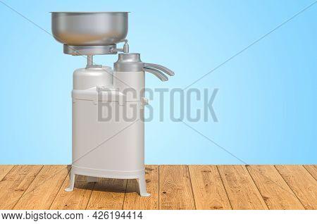 Milk Separator On The Wooden Planks, 3d Rendering