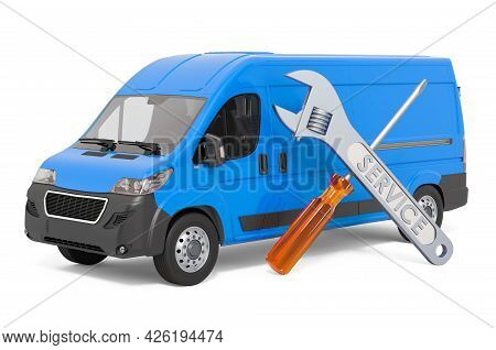 Van Repair And Service Concept. Delivery Van With Screwdriver And Wrench, 3d Rendering Isolated On W