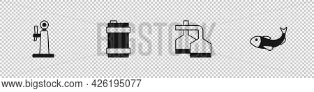 Set Beer Tap, Metal Beer Keg, Brewing Process And Dried Fish Icon. Vector