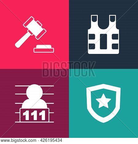 Set Pop Art Police Badge, Suspect Criminal, Bulletproof Vest And Judge Gavel Icon. Vector