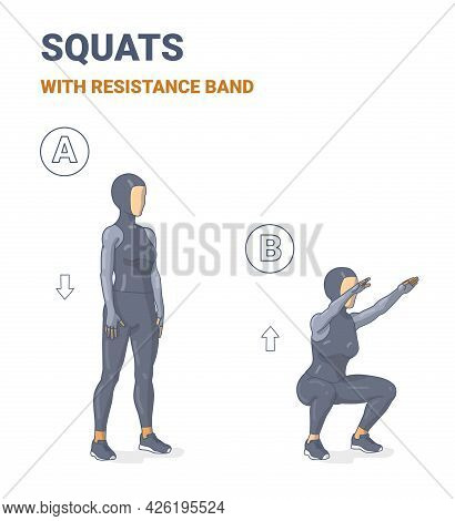Muslim Girl Doing Air Squats Exercise In Sporty Hijab Home Workout Guidance. Squatting Arabian Woman
