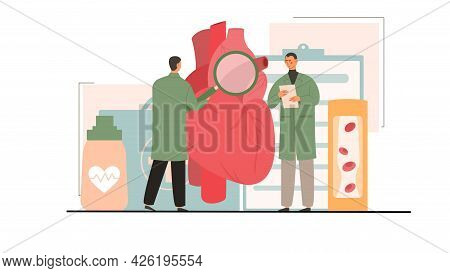 Two Male Doctors Curing Atherosclerosis Togther In Hospital. Concept Of High Cholesterol Blood Press