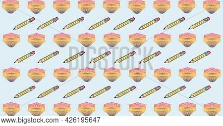 Composition of yellow pencils and facemasks repeated in rows on pink background. school, education and study during coronavirus covid 19 pandemic concept digitally generated image.