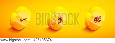 Set Isometric Armchair, Sedative Pills And Comedy And Tragedy Masks Icon. Vector
