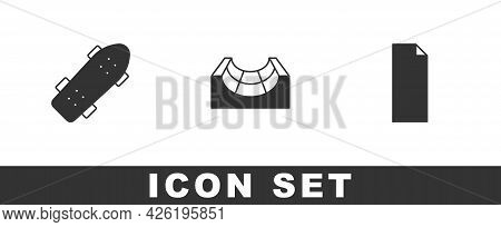 Set Skateboard, Park And Grip Tape On Skateboard Icon. Vector