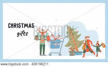 Christmas Holiday Sale Website Banner Template With Family Buying Gifts. Family Christmas Shopping,