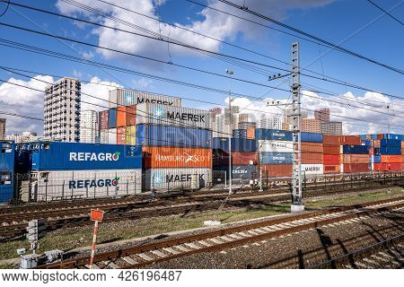 Colorful Stacked Containers In The Moscow Container Terminal Waiting Transportation. International C