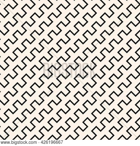 Vector Geometric Lines Seamless Pattern. Simple Monochrome Texture With Diagonal Jagged Stripes, Sna