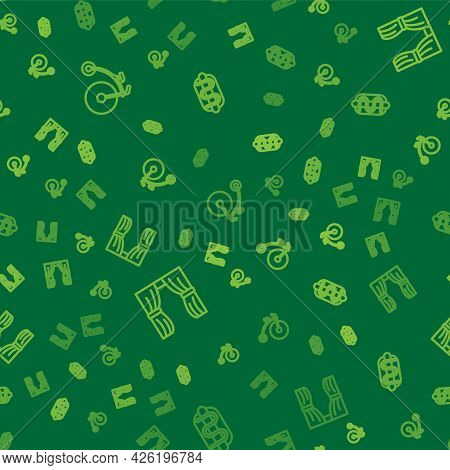 Set Line Vintage Bicycle, Circus Curtain Raises And Hotdog Sandwich On Seamless Pattern. Vector