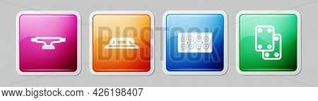 Set Line Skateboard Wheel, Stairs With Rail, And Knee Pads. Colorful Square Button. Vector