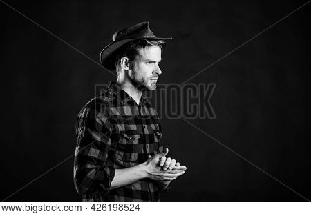 Cowboy Life Came To Be Highly Romanticized. Masculinity And Brutality Concept. Adopt Cowboy Manneris