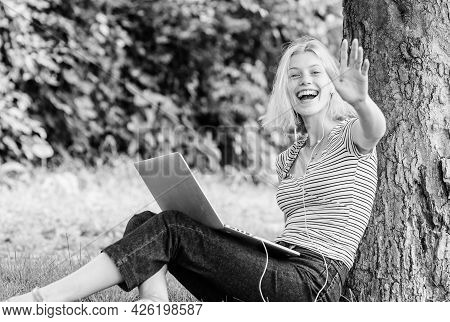 Reasons Why You Should Take Your Work Outside. Work In Summer Park. Girl Work With Laptop In Park. N