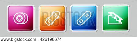 Set Line Skateboard Wheel, , And Stairs With Rail. Colorful Square Button. Vector