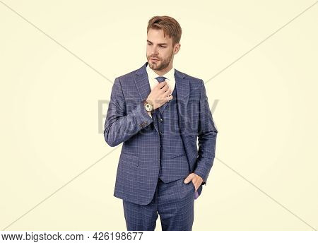 Smart And Stylish. Lawyer Fix Necktie Wearing Vested Blue Suit. Business Formal Style. Formal Wear