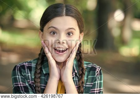 Essence Of Skincare. Happy Girl Smile Outdoors. Natural Skincare. Beauty Look Of Little Child. Summe