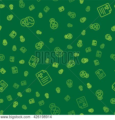 Set Line Planet Earth And Radiation, Radiation Warning Document And Radioactive On Seamless Pattern.