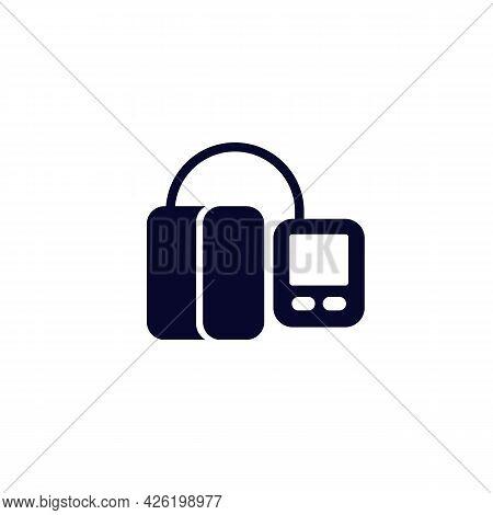 Blood Pressure Monitor, Tonometer Icon On White