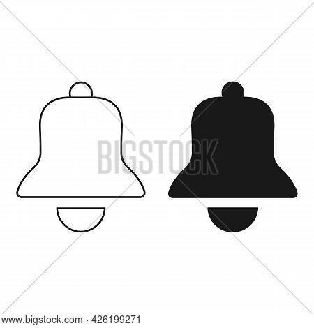 Notification Bell Vector Icon Isolated On White Background. White And Black Bell Vector. Alarm Symbo