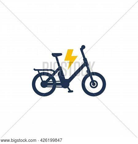 Electric Bike Icon, Electro Bicycle Or Ebike
