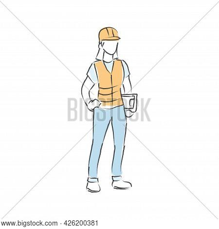 Abstract Line Drawing Construction Worker. Construction Worker Illustration In Line Hand Drawn Style