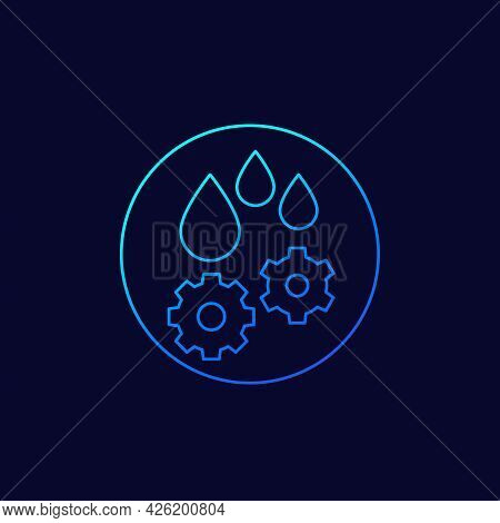 Lubricant, Oil Drops Icon, Line Vector Design