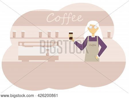 Vector Illustration Of Coffee Shop Interior And Barista Women With A Cup Of Coffee