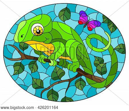 An Illustration In The Style Of A Stained Glass Window With A Bright Cartoon Chameleon On A Tree Bra
