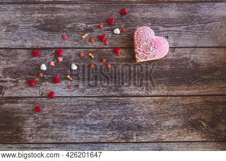 Valentine Day Gingerbread Cookies Heart With Sprinkles On Wooden Background