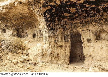 Cave Houses In Jorquer Village Mountain Range In Castile-la Mancha, Spain