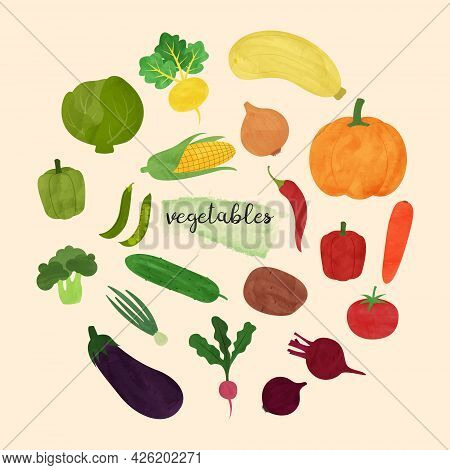 Set Of Vegetables In A Watercolor Style. The Vegetables Are Arranged By Color And Circle. Isolated V