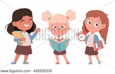 Cheerful Schoolgirls, Set Of Three Poses. Cute Girls Cartoon Characters. Back To School Concept. Vec