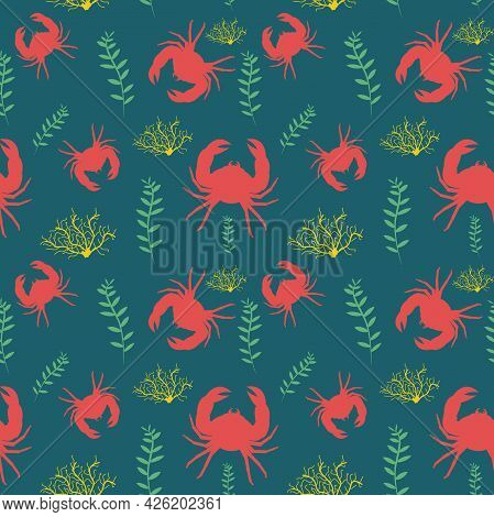 Vector Pattern With Red Crabs And Algae On A Dark Background