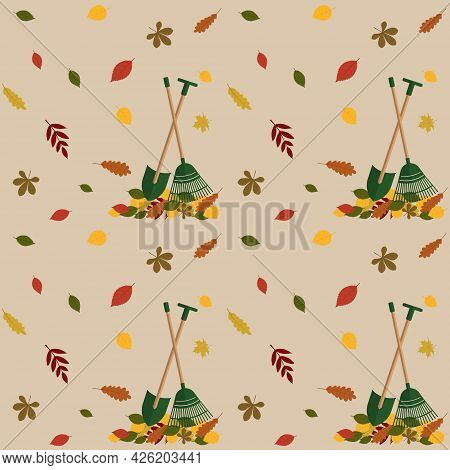Fall Pattern Featuring Fall Foliage And Garden Tools. Vector