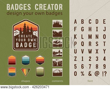 Hiking Badge Creator. Vintage Patches Elements And Styled Font.