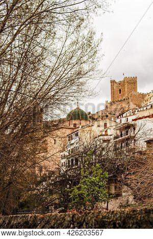 Beautiful Overview Of The Town Of Alcala De Jucar With The Fortress Castle And The Church In Spring