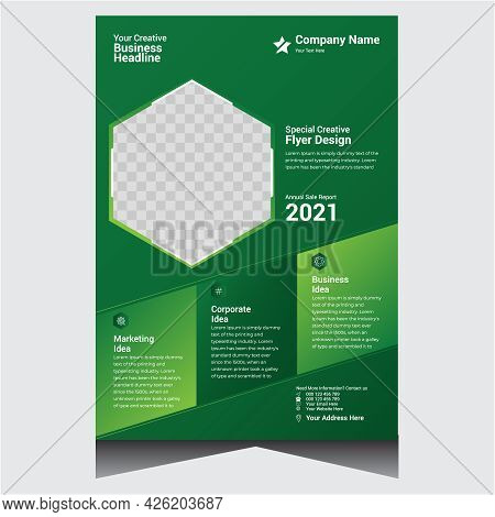 Green Promotional Creative Corporate Business Flyer Design Template
