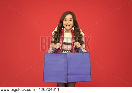 Happy Teen Girl With Packages. Xmas Winter Shopping. Buy Gifts And Presents. Child With Shopping Bag