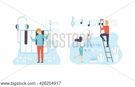 People Creating Musical Content, Social Media Marketing, People Working On Seo Optimization, Digital