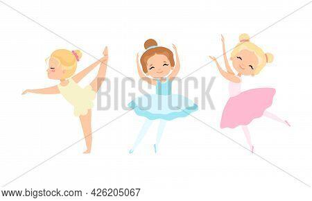 Lovely Little Ballerinas Dancing Set, Cute Little Girls Training Wearing Tutu Dress Cartoon Vector I