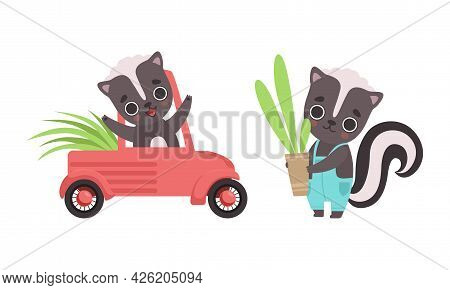 Adorable Badger Activities Set, Cute Baby Animal Character Riding Car And Holding Flowerpot With Pla