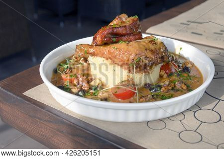 Delicious Chicken And Couscous With Dried Fruits. Traditional Moroccan Cuisine.