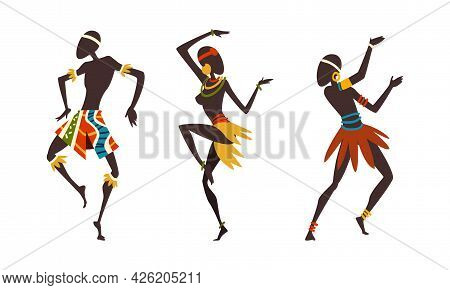 Set Of African Man And Woman Dancing Ethnic Dance Set, Aborigines In Bright Traditional Clothing Per