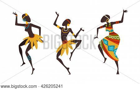 African People Ritual Dance, Aborigines In Bright Traditional Clothing Dancing Cartoon Vector Illust