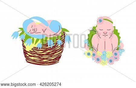 Adorable Sleeping Babies Set, Newborns Sleeping In Flowers And Wicker Basket Set Cartoon Vector Illu