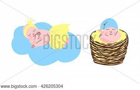 Adorable Sleeping Babies Set, Newborns Sleeping On Cloud And Wicker Basket Set Cartoon Vector Illust