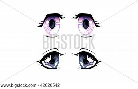 Beautiful Eyes With Shiny Light Reflections Set, Cute Expressive Eyes In Anime Manga Style Cartoon V