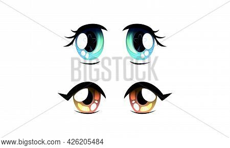 Set Of Beautiful Eyes With Shiny Light Reflections In Anime Manga Style Cartoon Vector Illustration