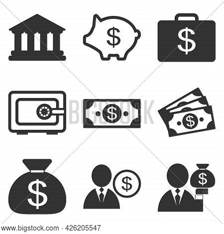 Financial Icon Set. Money, Bank, Piggy Bank Icons. Collection Of Finance Illustration Signs. Bank Sy